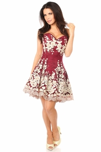 Top Drawer Elegant Wine Floral Embroidered Steel Boned Corset Dress