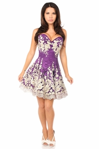 Top Drawer Elegant Plum Floral Embroidered Steel Boned Corset Dress