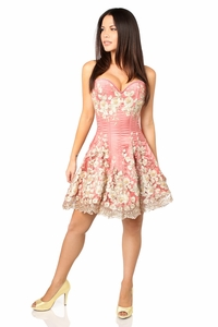 Top Drawer Elegant Coral Floral Embroidered Steel Boned Corset Dress