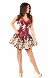 Top Drawer Elegant Wine Floral Embroidered Steel Boned Short Corset Dress