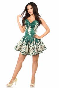 Top Drawer Elegant Dark Green Floral Embroidered Steel Boned Short Corset Dress