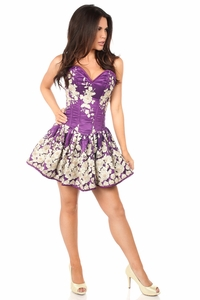 Top Drawer Elegant Plum Floral Embroidered Steel Boned Short Corset Dress