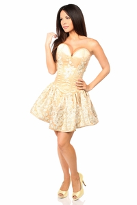 Top Drawer Elegant Gold Floral Embroidered Steel Boned Short Corset Dress