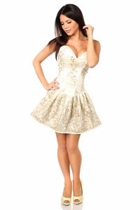 Top Drawer Elegant Ivory Floral Embroidered Steel Boned Short Corset Dress