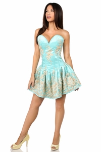 Top Drawer Elegant Aqua Floral Embroidered Steel Boned Short Corset Dress