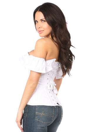 Lavish White Cotton Off-The-Shoulder Corset