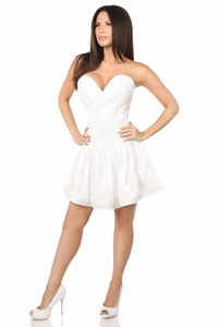 Top Drawer Elegant Bridal Embroidered Net Steel Boned Short Corset Dress