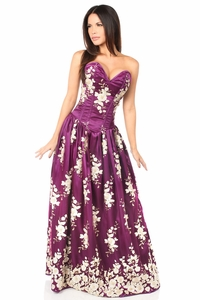 Top Drawer Elegant Plum Floral Embroidered Steel Boned Long Corset Dress