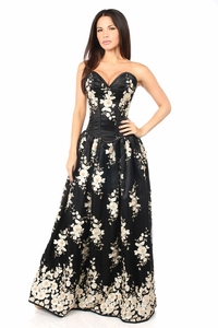 Top Drawer Elegant Black Floral Embroidered Steel Boned Long Corset Dress