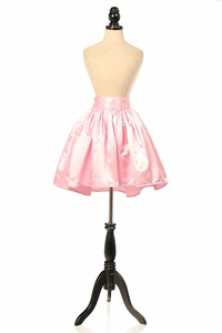 Pink Satin Short Skirt
