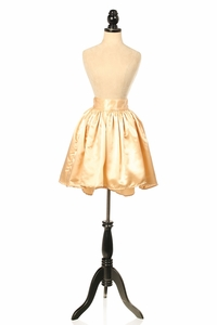 Gold Satin Short Skirt