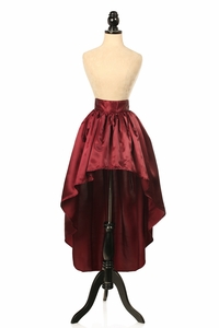 Wine Satin High Low Skirt