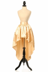 Gold Satin High Low Skirt