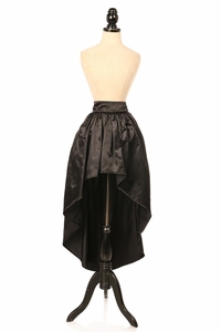 Black Satin High Low Skirt