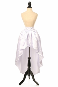 White Satin High Low Skirt