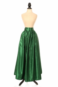 Dark Green Satin Long Skirt