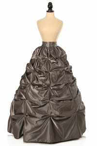 Gunmetal Satin Pick-Up Long Skirt