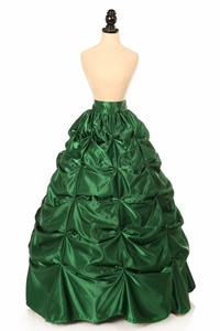 Dark Green Satin Pick-Up Long Skirt