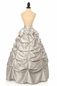 Silver Satin Pick-Up Long Skirt