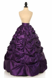 Plum Satin Pick-Up Long Skirt