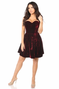 Top Drawer Steel Boned Red Velvet Empire Waist Corset Dress - IN STOCK
