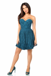 Top Drawer Steel Boned Dark Teal Lace Empire Waist Corset Dress - IN STOCK