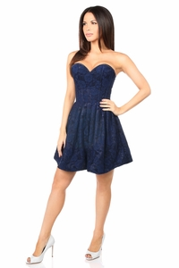 Top Drawer Steel Boned Navy Blue Lace Empire Waist Corset Dress