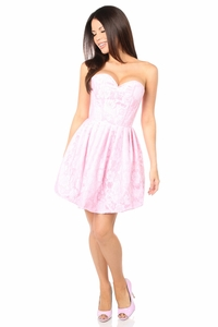 Top Drawer Steel Boned Lt Pink Lace Empire Waist Corset Dress