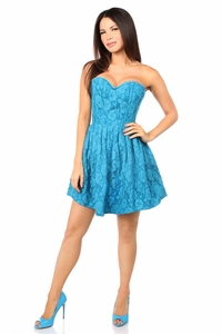 Top Drawer Steel Boned Teal Lace Empire Waist Corset Dress - IN STOCK