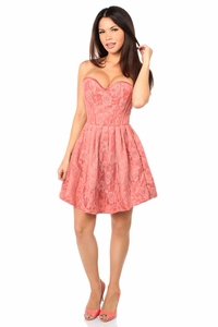 Top Drawer Steel Boned Coral Lace Empire Waist Corset Dress - IN STOCK