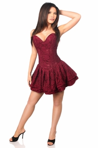 Top Drawer Wine Lace Steel Boned Ruffle Corset Dress - IN STOCK
