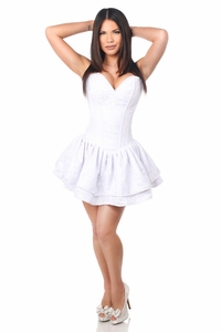 Top Drawer White Lace Steel Boned Ruffle Corset Dress - IN STOCK