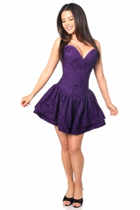 Top Drawer Dark Purple Lace Steel Boned Ruffle Corset Dress - IN STOCK