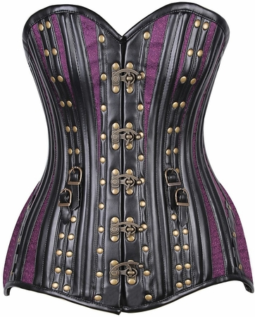 Top Drawer CURVY Brocade & Faux Leather Steel Boned Corset w/Rivets