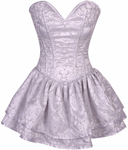 Top Drawer White Glitter Embroidered Net Overlay Steel Boned Corset Dress