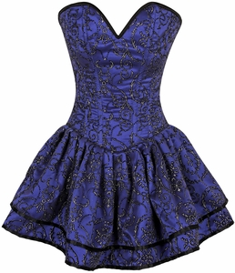 Top Drawer Royal Blue Glitter Embroidered Net Overlay Steel Boned Corset Dress