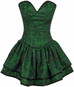 Top Drawer Green Glitter Embroidered Net Overlay Steel Boned Corset Dress