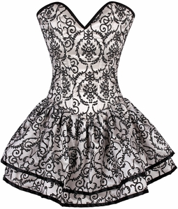 Top Drawer Ivory Glitter Embroidered Net Overlay Steel Boned Corset Dress