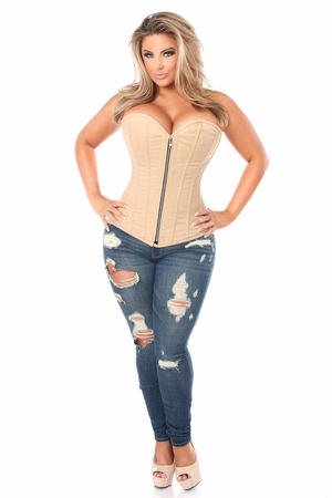 Top Drawer Tan Cotton Steel Boned Corset w/Zipper - IN STOCK
