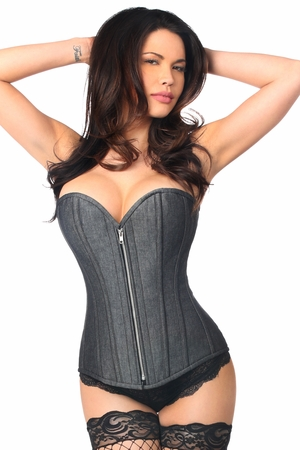Top Drawer Denim Black Steel Boned Overbust Corset w/Zipper - IN STOCK