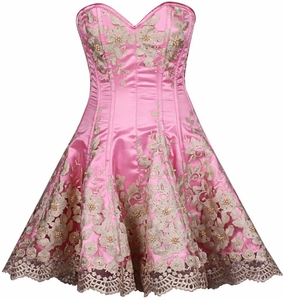 Top Drawer Elegant Pink Floral Embroidered Steel Boned Corset Dress