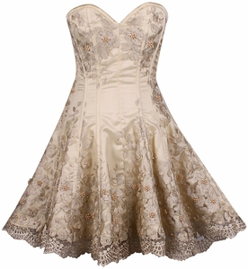 Top Drawer Plus Size Elegant Ivory Floral Embroidered Steel Boned Corset Dress