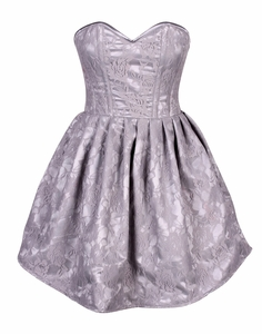Top Drawer Steel Boned Lt Grey Lace Empire Waist Corset Dress