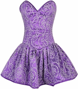 Top Drawer Regal Purple Glitter Embroidered Net Overlay Steel Boned Corset Dress