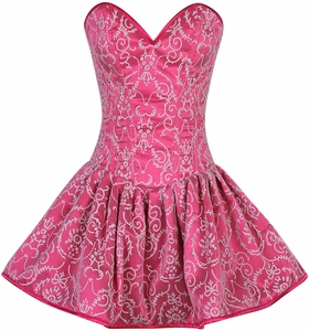 Top Drawer Regal Pink Glitter Embroidered Net Overlay Steel Boned Corset Dress