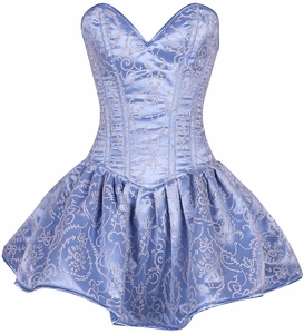 Top Drawer Regal Lt Blue Glitter Embroidered Net Overlay Steel Boned Corset Dress
