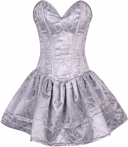 Top Drawer Regal Silver Glitter Embroidered Net Overlay Steel Boned Corset Dress