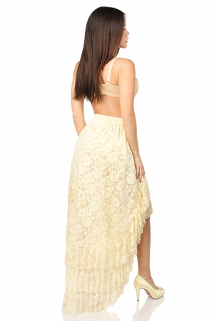 Cream High Low Lace Skirt - IN STOCK