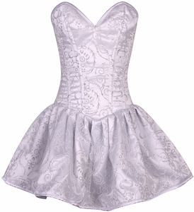 Top Drawer Regal White Glitter Embroidered Net Overlay Steel Boned Corset Dress