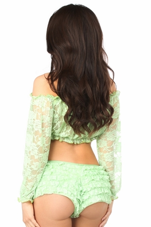 Lt Green Sheer Lace Long Sleeve Peasant Top - IN STOCK